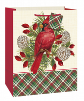 Plaid Red Cardinal Large Gift Bag